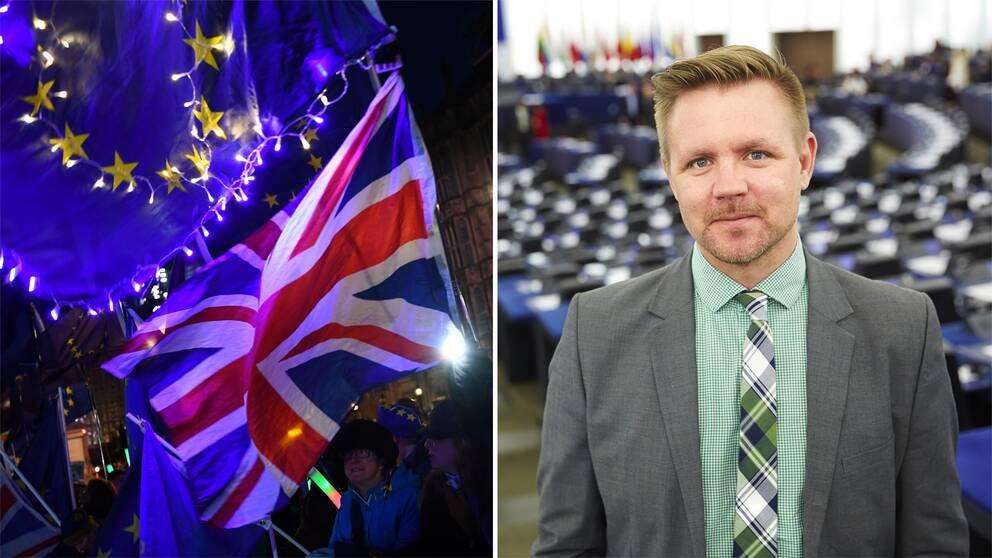 Bild på kvinnor som håller i en EU-flagga och Storbritanniens flagga samt bild på EU- parlamentsledamoten Fredrick Federley (C).