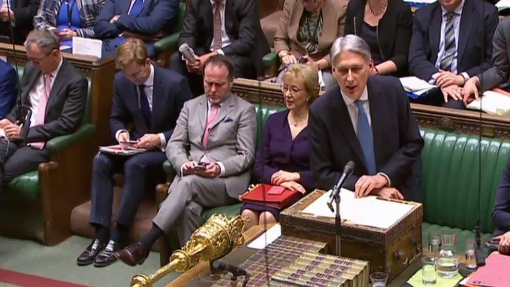 Storbritanniens finansminister Philip Hammond under debatten inför onsdagskvällens omröstning.
