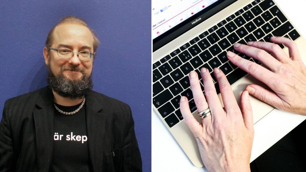 Man mot blå vägg. Händer på tangentbord.