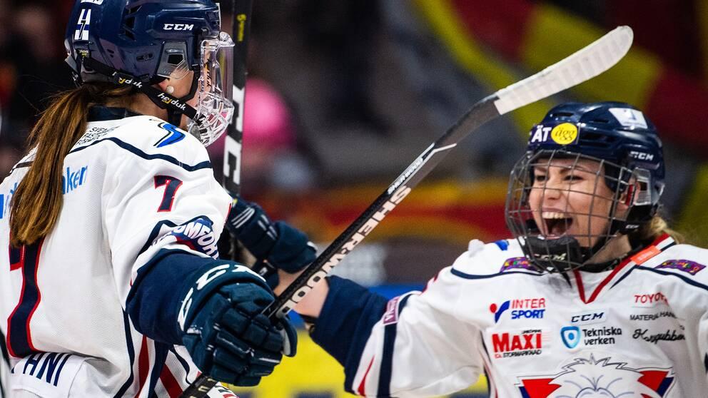 Linköpingsjubel i första finalmatchen mot Luleå.
