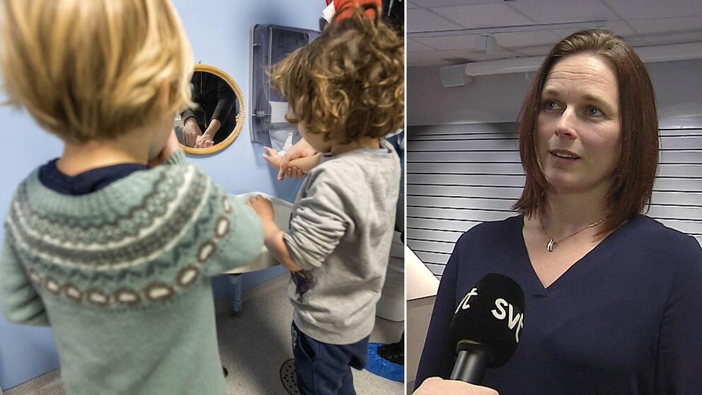 Barn på förskola tvättar händerna. Jessica Kjellén, förskolechef i Borås, intervjuas av SVT.