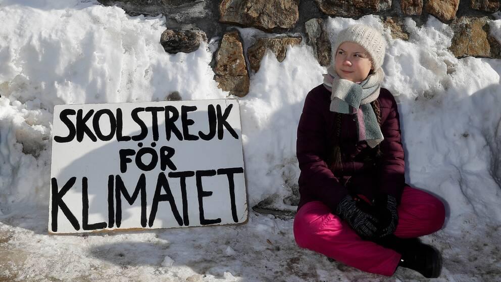 Greta Thunberg i samband med World Economic Forum i Davos.