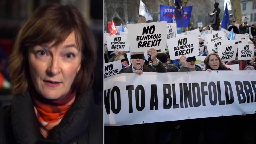 """""""Theresa May har förlorat kontrollen över sin regering"""", säger SVT:s utsända Anna-Maja Persson. Till höger en av flera brexit-protester i London."""