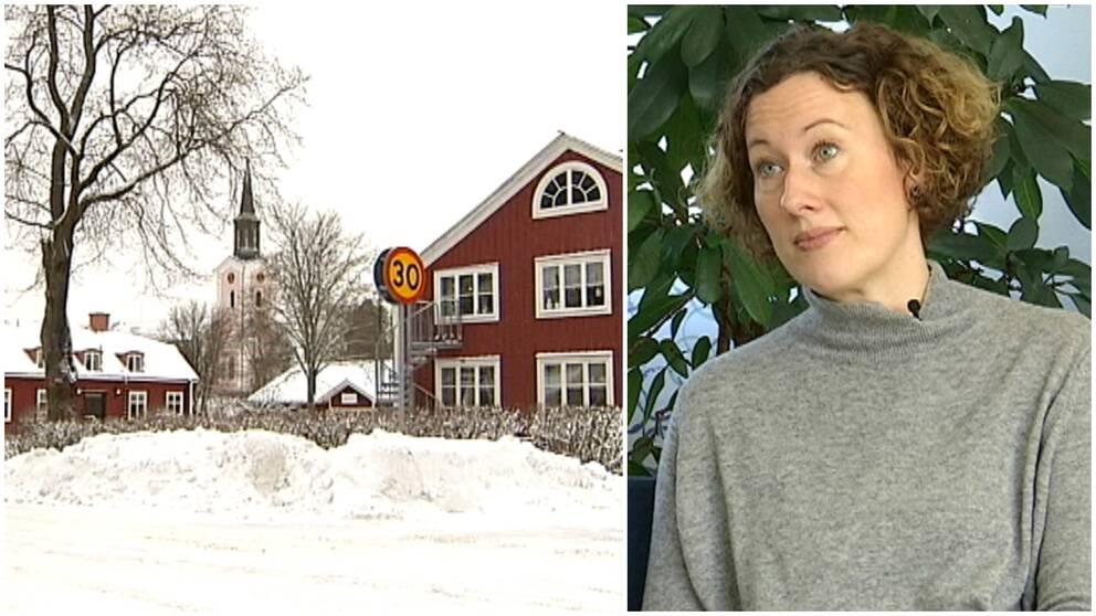 Två bilder. Byn Hamrånge och Karolina Stenroth på Gästrike Vatten.