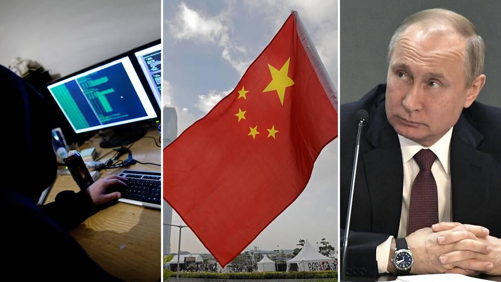 En person framför en dator, kinesiska flaggan och Rysslands president Putin.