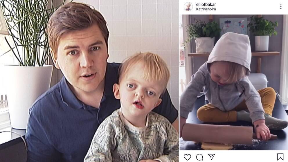 Bilden visar Oscar Tannlund tillsammans med sonen Elliot från Katrineholm.