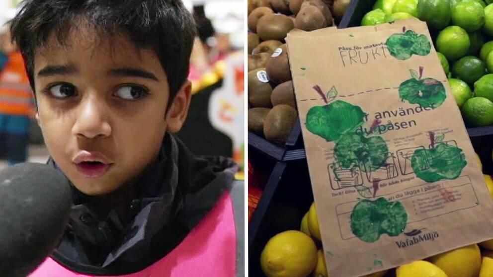 Ett barn, en papperspåse och grön frukt.