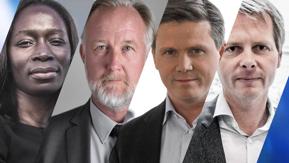 Nyamko Sabuni, Johan Pehrson, Erik Ullberg och Christer Nylander som alla är potentiella efterträdare till Liberalernas partiledare Jan Björklund.