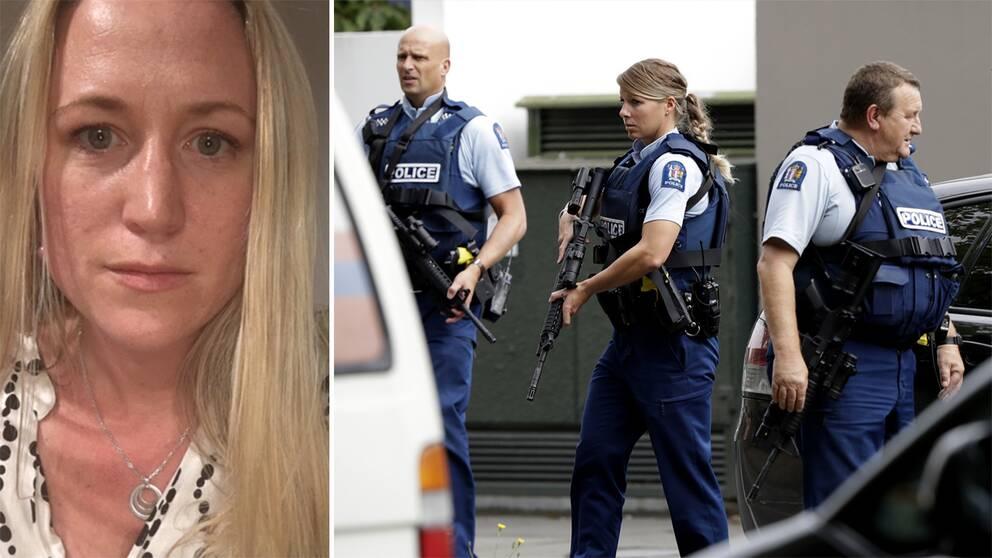 Bild på kvinna – bild på beväpnade poliser