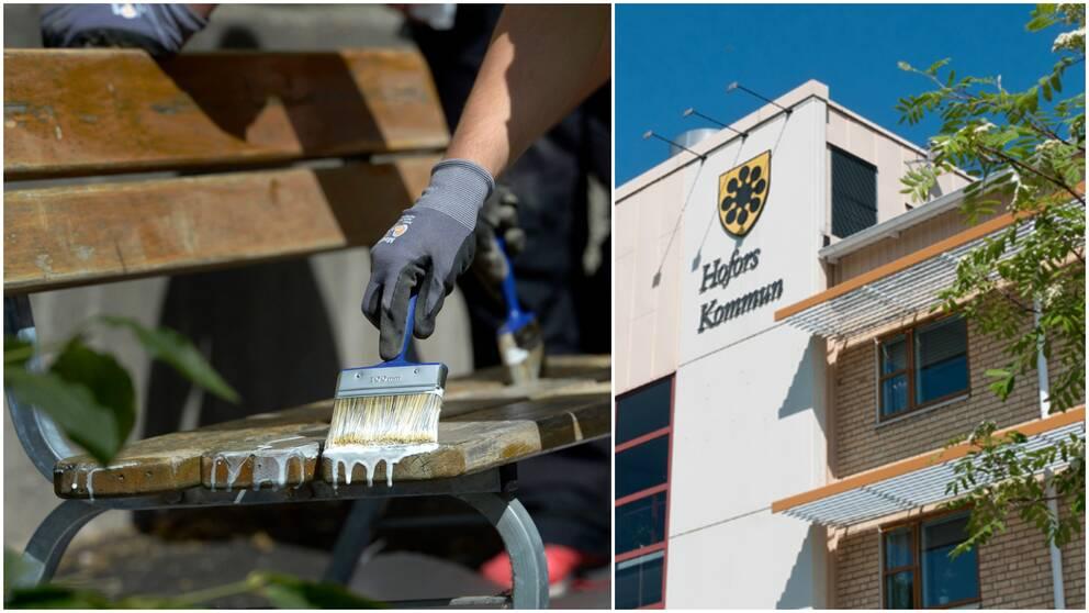 två bilder. person som målar parkbänk och hofors kommunhus.