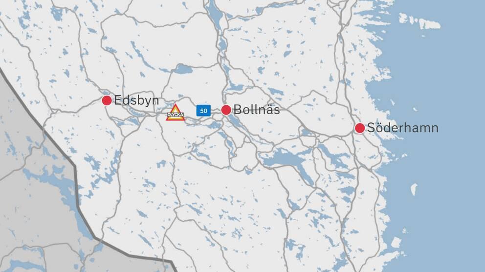 En karta av delar av Gävleborg där olycksplatsen finns utplacerad i form av en symbol för en skylt.