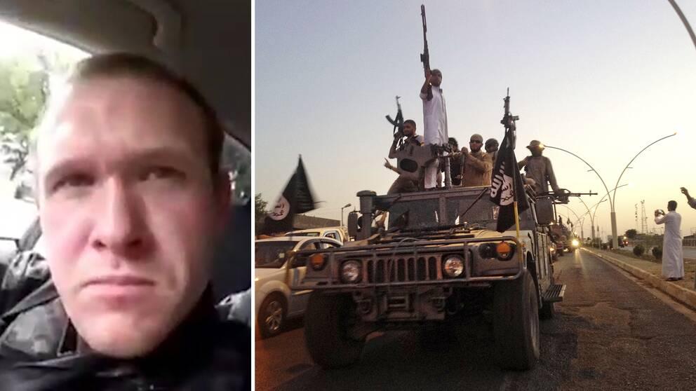 Anonyma hyllningar och provokationer för att agera, inte bara snacka – massmördaren och terroristen Brenton Tarrant (till höger) har detta gemensamt med många IS-terrorister, skriver SVT:s Diamant Salihu