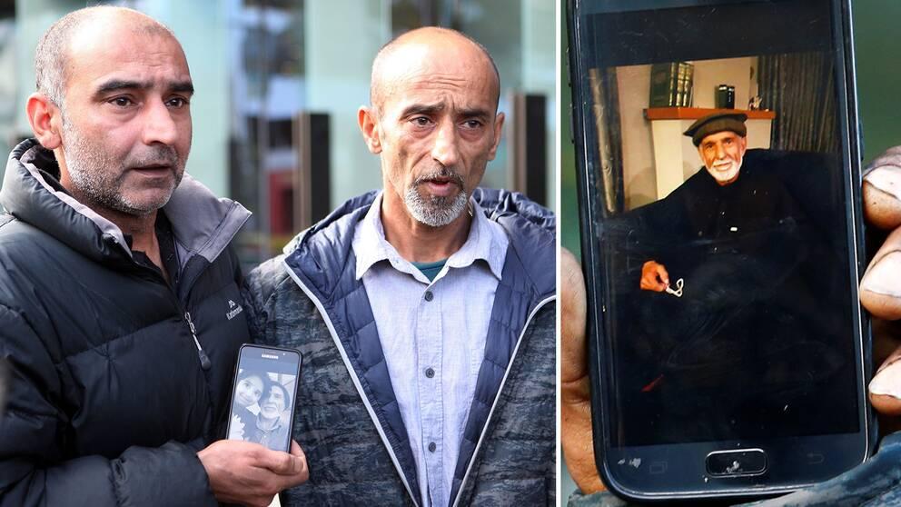 Bröderna (från vänster) Yami och Omar Nabi visar upp en bild på sin pappa Daoud – en av alla människor som sköts ihjäl i terrorattacken i Christchurch, Nya Zeeland