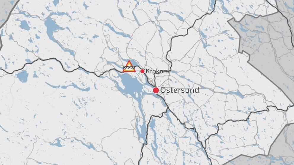 En karta över delar av Jämtland där olycksplatsen är