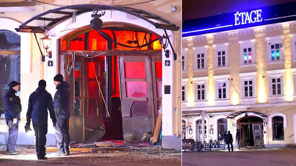 Polisen på plats utanför nattklubben Étage i Malmö där någonting exploderade strax före midnatt på söndagskvällen.