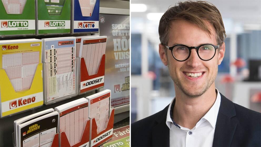 Interiör från en spelbutik. Spelkuponger för spel på Lotto, Keno och Oddset från Svenska spel. Magnus Fridell är vinnarkommunikatör på Svenska spel.