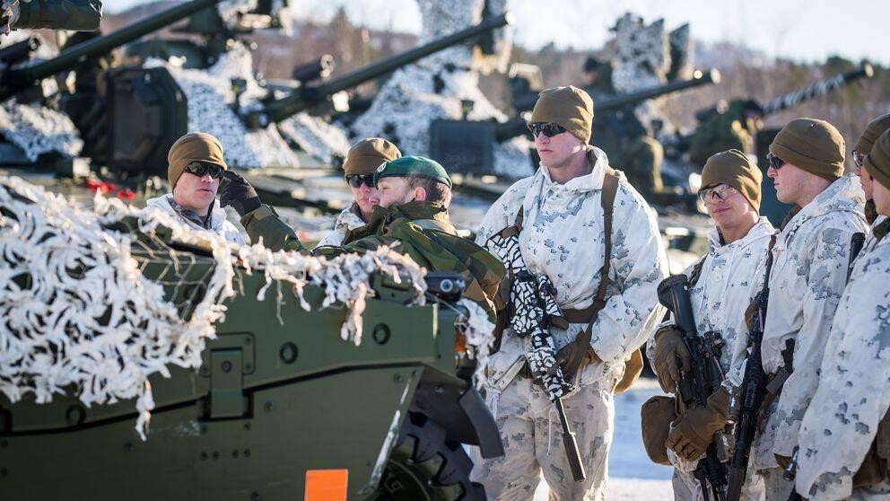 Amerikanska marinkårssoldater under en övning i Finnmark i Norge 2017.