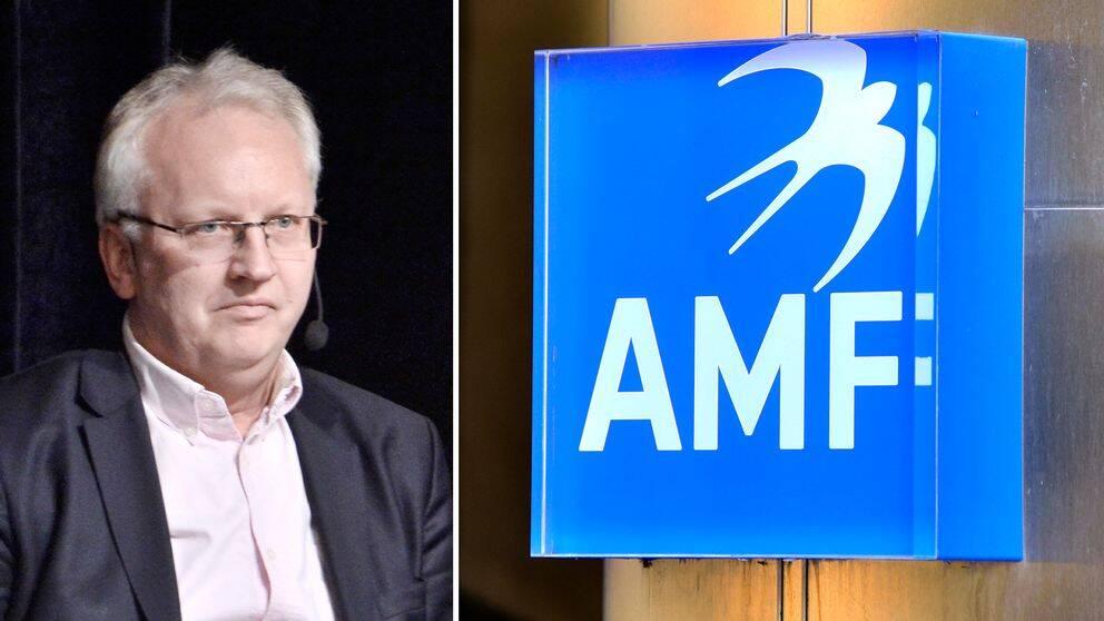 Pär Nuder och en skylt där man ser loggan AMF i vitt på blå bakgrund.