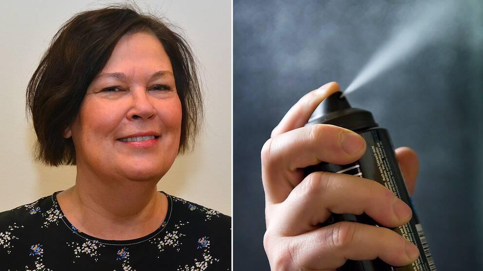 Ulrika Nilsson, professor i analytisk kemi samt en flaska med deodorant.