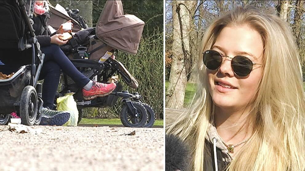 Sällskap med barnvagnar och porträttbild på Alexia Hamilton som bor i Lund.