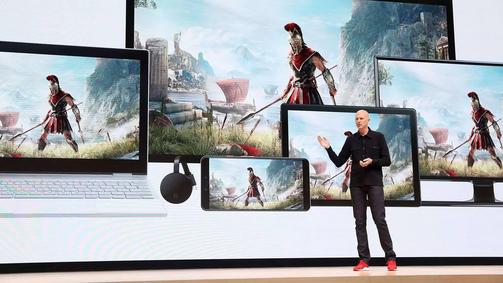 Googles vice ordförande Phil Harrison Phil Harrison presenterade Stadia under en presskonferens i San Fransisco under tisdagen.