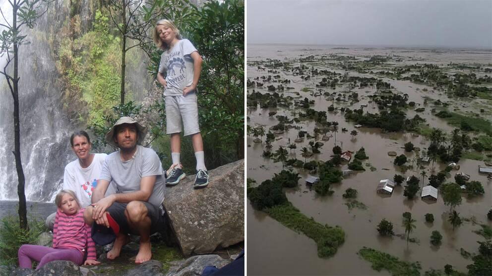Lena Granqvist tillsammans med sin man Gabriele Santi och barnen Axel och Vera. Området Nicoadala i Moçambique är under vatten.