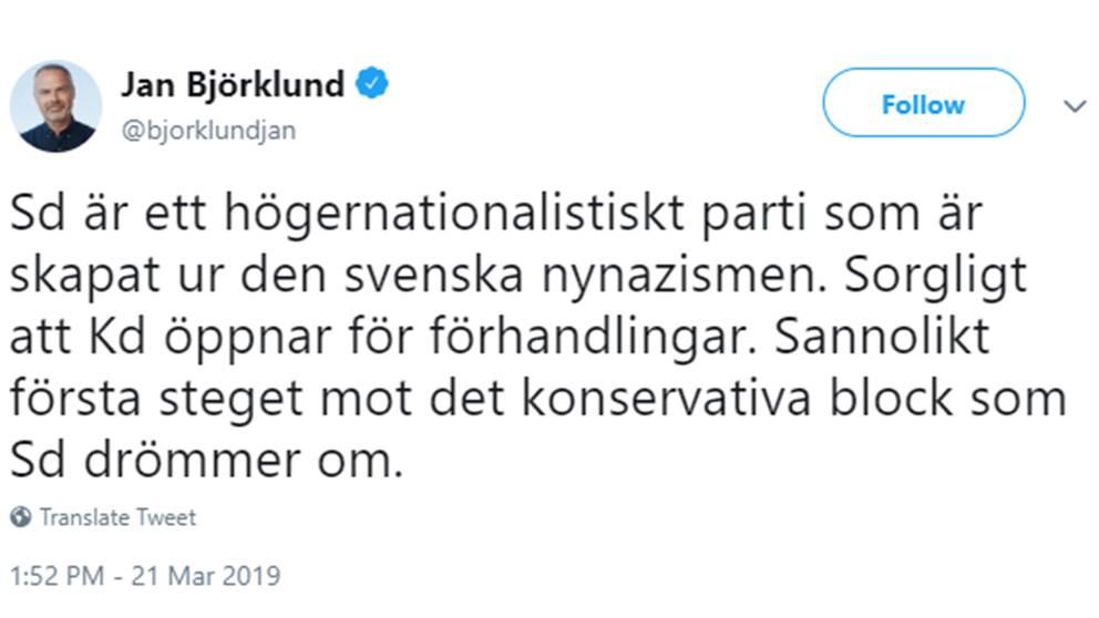 Liberalernas partiledare Jan Björklund twittrar om att KD vill samarbeta med SD.