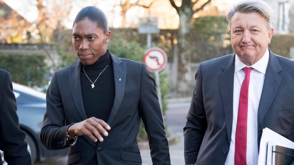 Caster Semenya till vänster driver fallet i Cas mot IAAF.