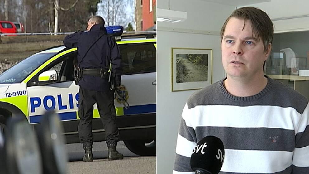 En polis vid en polisbil till vänster och till höger en man med randig tröja