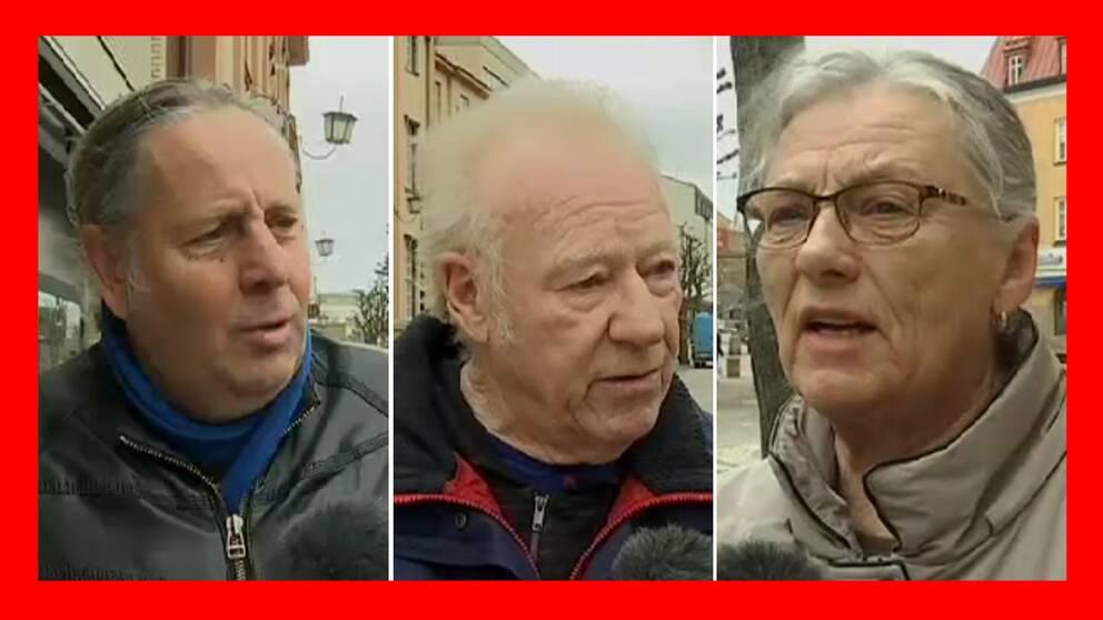 Tre Katrineholmsbor – två män och en kvinna – som intervjuas i klippet.
