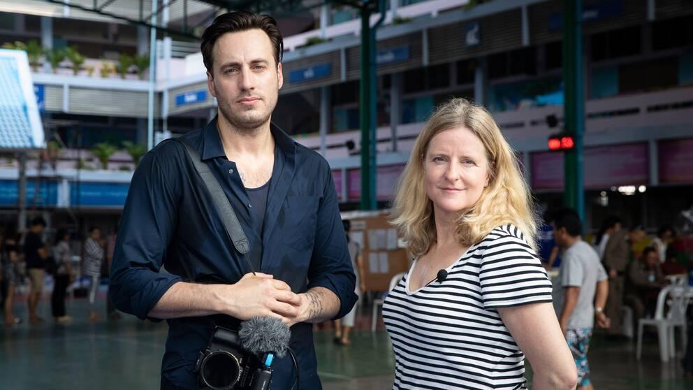 SVT:s fotograf Nicolai Zellmani och Asienkorrespondent Ulrika Bergsten i Thailand.
