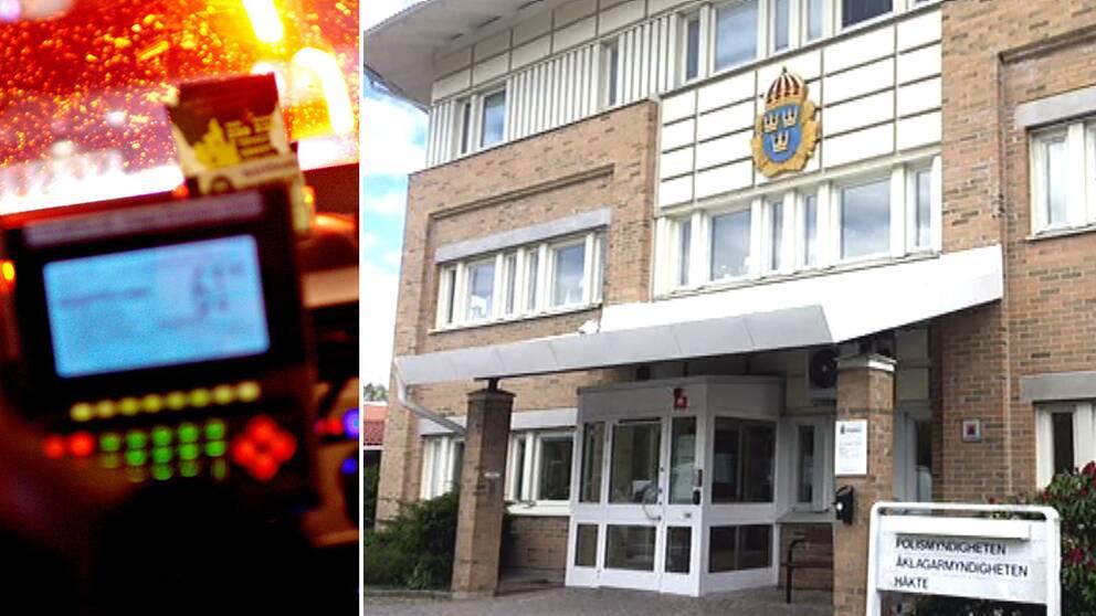 En delad bild där vänstersidan visar en taxameter och instrumentbräda i en taxibil. Högersidan visar fasaden på polisstationen i Nyköping.