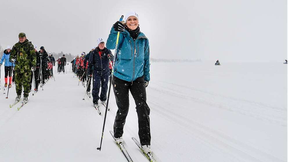 Kronprinsessan besökte i förra veckan Norrbotten och stod också då på skidor.