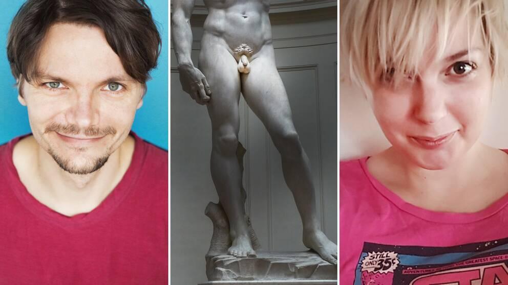 Frågor kring snoppen som rör längd och grovhet är och har alltid varit extremt vanliga bland män. En välkänd öm punkt som bluffföretag lätt kan utnyttja. På bilden syns Pelle Ullholm (RFSU), Michelangelos skulptur David (med en helt vanlig snopp) och debattören Myra Åhbäck Öhrman.