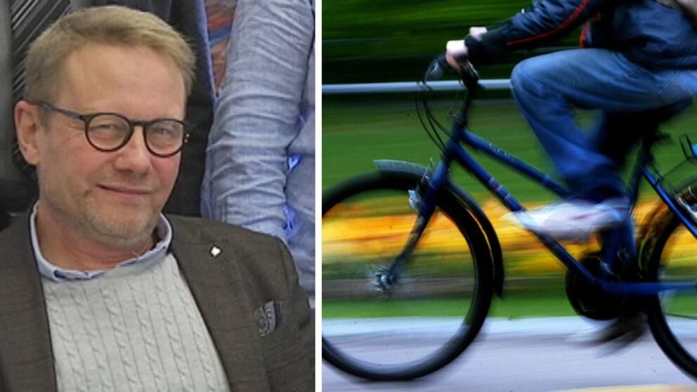 Erling Cronqvist (C), kommunstyrelsens ordförande i Laholm och cykel.
