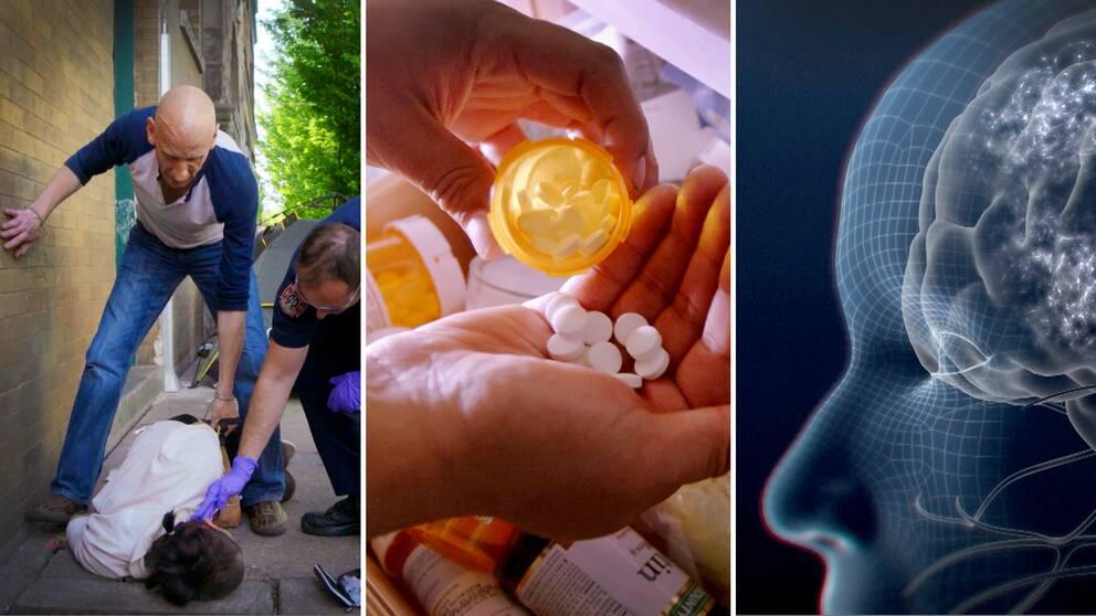 Tre bilder där den första är sjukvårdare som undersöker en person som tagit en överdos. Bild två är tabletter som hälls från burk till hand. Bild tre är en animerad bild av ett transparent huvud som även visar en hjärna.