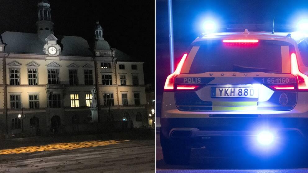En bild på Fristadstorget i mörkret och en bild på en polisbil med blåljus.