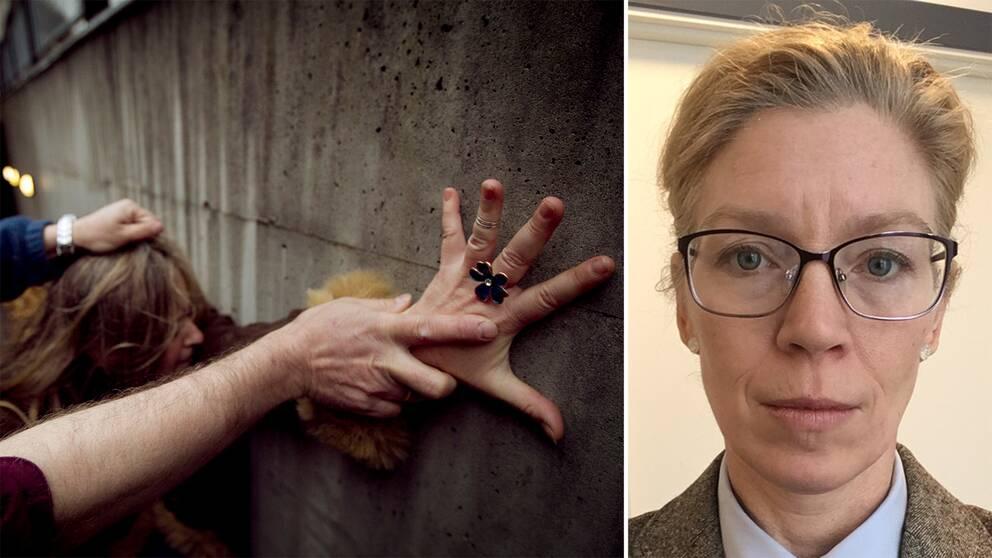 En kvinna hålls fast av en man och forskaren Sandra Friberg, docent i civilrätt vid Uppsala universitet.