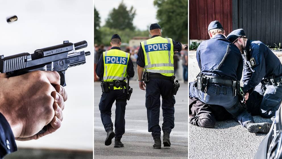 En polis med ett vapen, två poliser på en festival och två poliser som brottar ned en man.