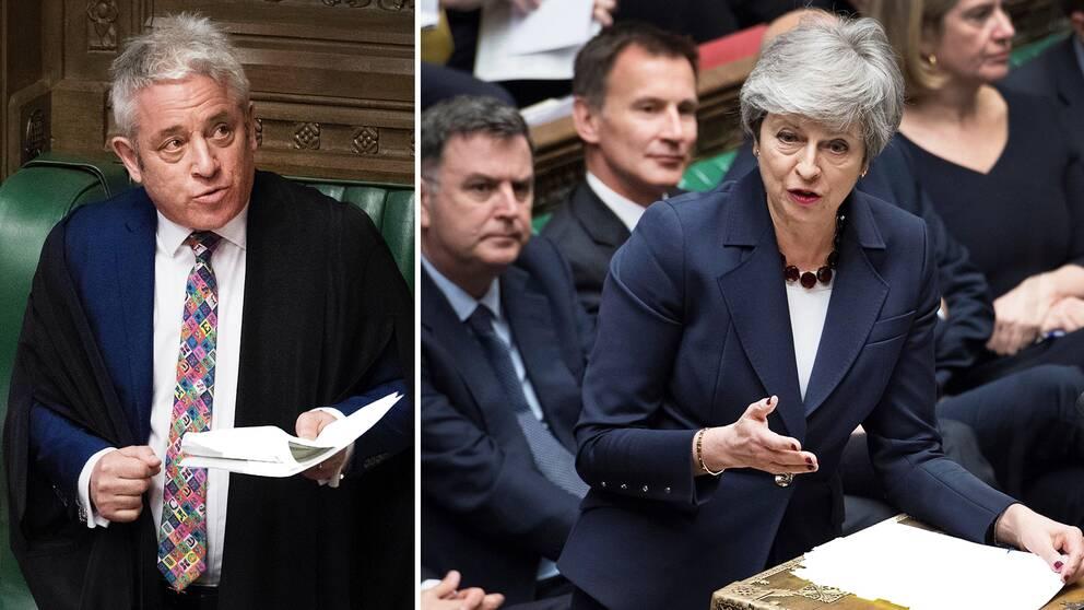 Talmannen i det brittiska underhuset John Bercow och landets premiärminister Theresa May