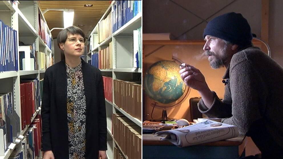 Forskaren Sofia Pull har undersökt hanböcker i skrivande från 70-talet fram till idag. Till höger den samtida författaren Karl Ove Knausgård