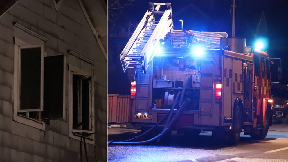 En man räddades ur lågorna i flerbostadshuset i Töreboda sent på torsdagskvällen.