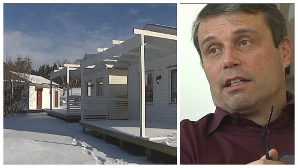 vy över attefallshus, samt närbild på Daniel Kindberg