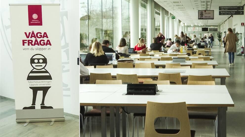 Studenter sitter vid bord i universitetsmiljö på Uppsala universitet.