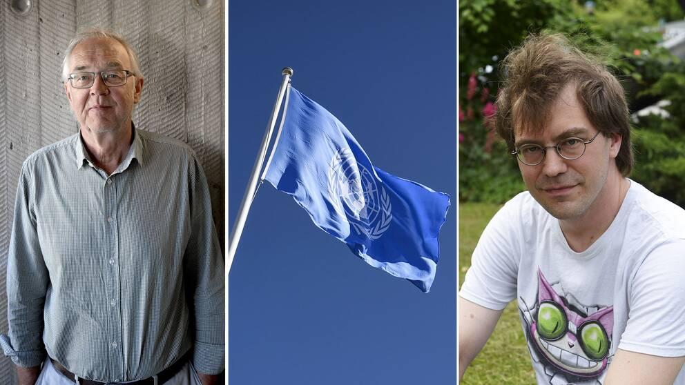 Nils Funcke, en FN-flagga och Simon Lundström