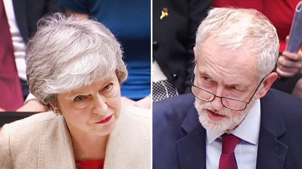 Storbritanniens premiärminister Theresa May och oppositionspartiet Labours ledare Jeremy Corbyn i det brittiska underhuset vid fredagens omröstning