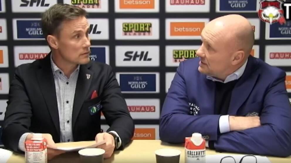 Frölundas tränare Roger Rönnberg och Malmös Peter Andersson.