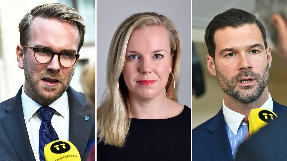 Andreas Carlsson (KD), Linda Westerlund Snecker (V) och Johan Forsell (M)