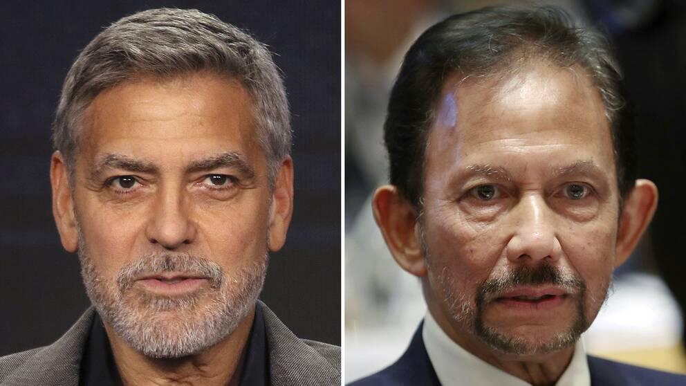 George Clooney och Bruneis sultan Hassanal Bolkiah. Arkivbilder.