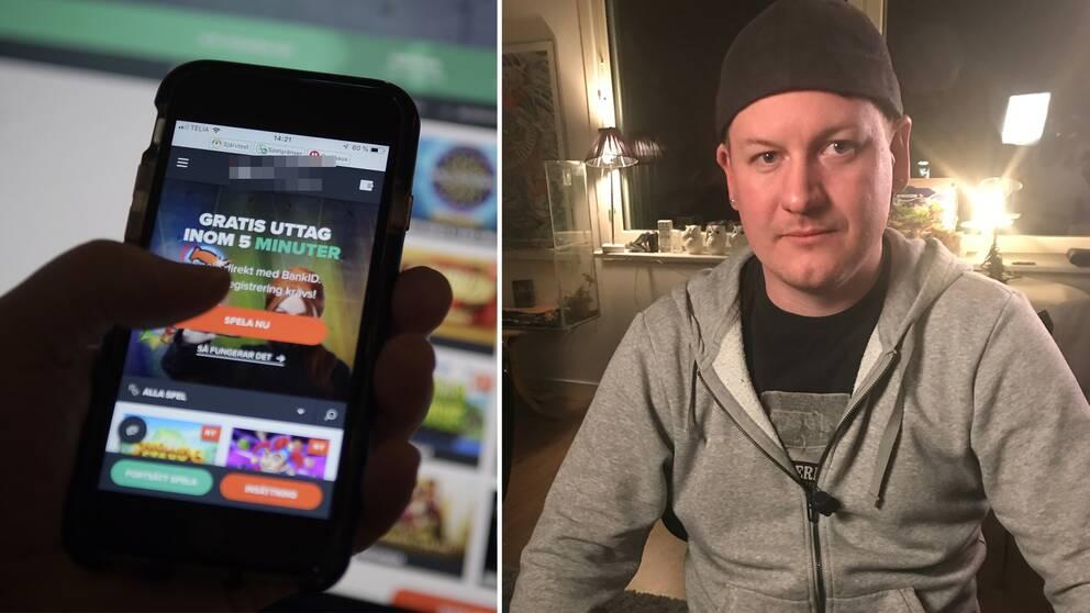 Bild till vänster: en mobil med spelreklam. Bild till höger: Caset Christopher.